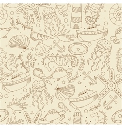 Sea line art design seamless vector