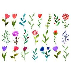 Set of watercolor doodle flowers vector image vector image
