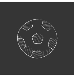 Soccer ball drawn in chalk icon vector