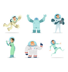 space characters mascots of astronauts in cartoon vector image