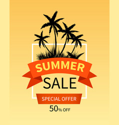 summer sale banner with palm trees vector image vector image