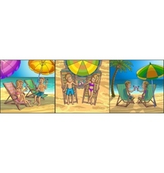 Summer tropical relax leisure scene on the beach vector
