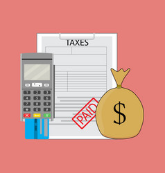 Tax paid graphic vector