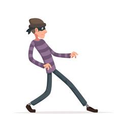 Thief sneak walk cartoon criminal character vector