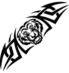 Tiger and symmetric tribals - vector image