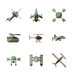 Unmanned robots flat color icons vector
