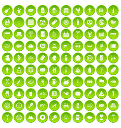 100 meat icons set green circle vector