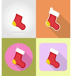 christmas and new year flat icons 02 vector image
