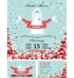 Wedding bridal shower invitationsbride dress vector