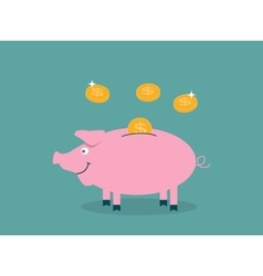 Smiling pretty pink pig piggy bank with falling vector