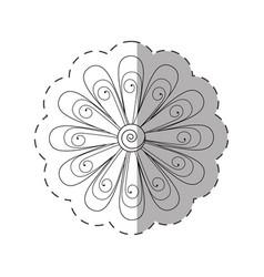 daisy flower decoration monochrome vector image