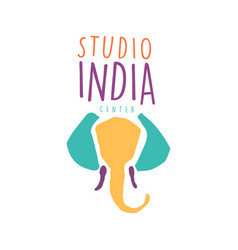 studio india logo colorful hand drawn vector image