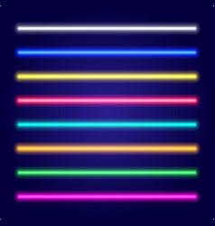Set of color laser beams neon tube light vector