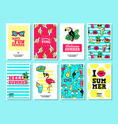 cards and banners in cartoon 80s-90s style vector image
