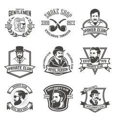 Set of smokers club gentlemen club labels design vector