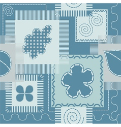 Patches and stitch seamless pattern vector