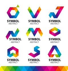 Collection of logos from abstract modules vector