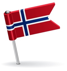 Norwegian pin icon flag vector