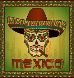 Traditional mexican scull with sombrero vector