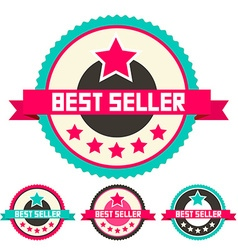Best seller retro flat design labels set vector