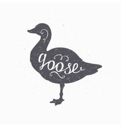 Hand drawn farm bird hipster silhouette goose vector
