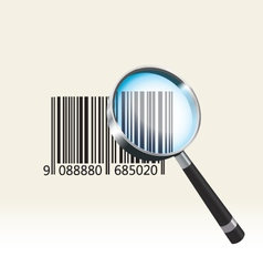 Bar code under a magnifying glass vector