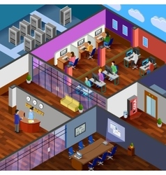 Development office isometric design concept vector