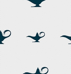 Alladin lamp genie sign seamless pattern with vector
