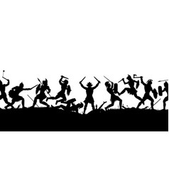 Ancient battle scene silhouette vector