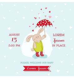 Baby shower card - bunny with umbrella vector
