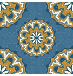 Blue and brown color mandala ornament seamless vector
