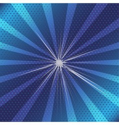 Burst rays blue background with halftone vector image vector image