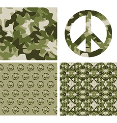 Camouflaged peace patchs vector