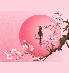 Cherry blossom tree with bird vector