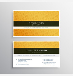 Clean yellow business card design with elegant vector