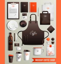 Coffee shop design mockup vector
