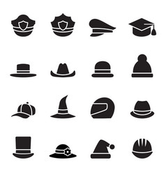 collection of black hat vector image vector image