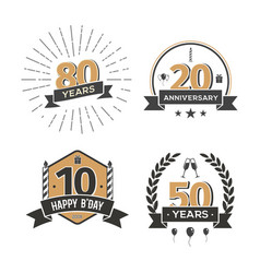 collection of retro anniversary logo isolated vector image vector image