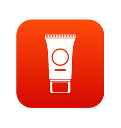Cosmetic cream tube icon digital red vector