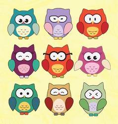 Cute Cartoon Owls vector image