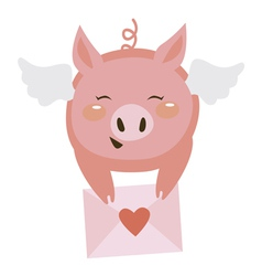 Cute pig with letter vector