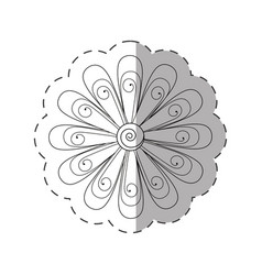 Daisy flower decoration monochrome vector