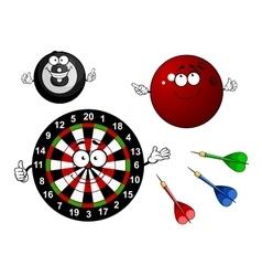 Dartboard bowling and billiard sport items vector