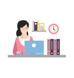 elegant smiling businesswoman character working vector image vector image