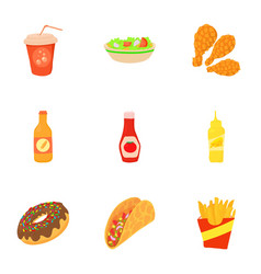 Fast food icons set cartoon style vector