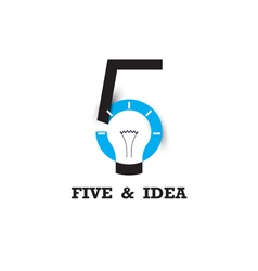 Five number icon and light bulb abstract logo vector