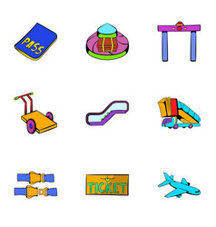 Flight icons set cartoon style vector