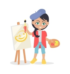 Girl draws on easel isolated in flat style design vector