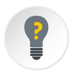 Gray light bulb with question mark inside icon vector