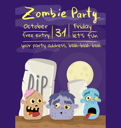 halloween zombie party poster with monster heads vector image vector image